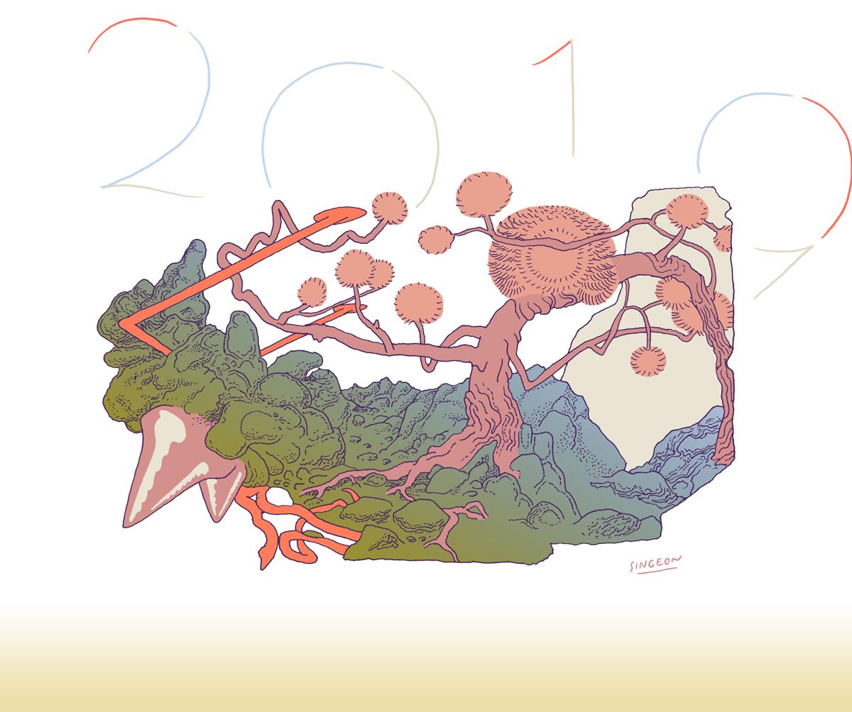 Singeon illustration vœux 2019 arbre