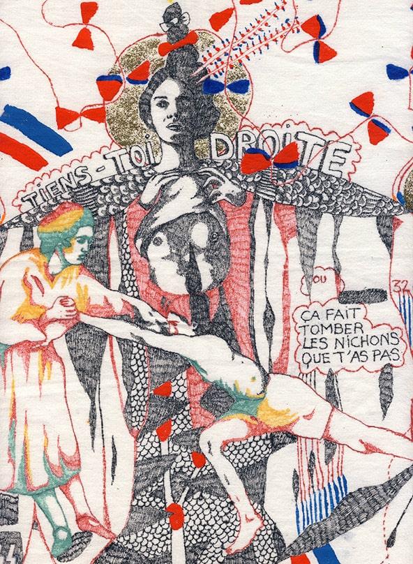 Aurélie William Levaux illustration sur tissu femme objet