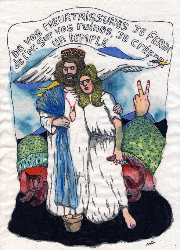 Aurélie William Levaux illustration sur tissu religion